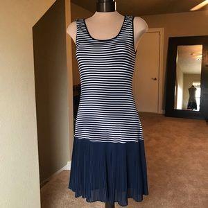 Mystree sleeveless blue/white striped sundress